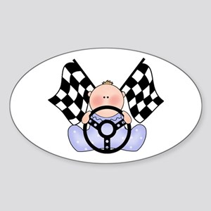 Lil Race Winner Baby Boy Oval Sticker